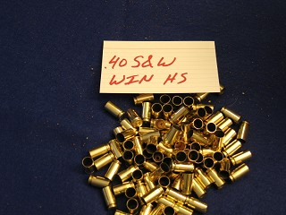 .40 S&W Fired Brass, Winchester Manufacture Headstamp